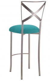 Simply X Barstool with Turquoise Suede Cushion