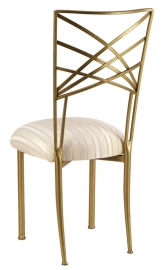 Gold Fanfare with Ivory Stripe Cushion