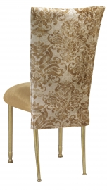 Ravena 3/4 Chair Cover with Camel Suede Cushion on Gold Legs