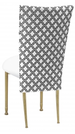 Moderne 3/4 Chair Cover with White Leatherette Cushion on Gold Legs