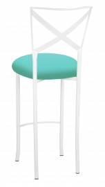 Simply X White Barstool with Aqua Stretch Knit Cushion