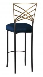 Two Tone Gold Fanfare Barstool with Midnight Blue Taffeta Boxed Cushion