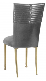 Head Dress with Gunmetal Stretch Knit Cushion on Gold Legs