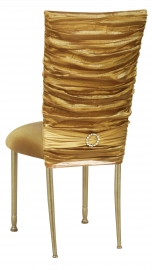Gold Demure Chair Cover with Jeweled Band and Gold Stretch Knit Cushion on Gold Legs