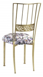 Gold Bella Fleur with White Paint Splatter Knit Cushion
