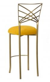 Gold Fanfare Barstool with Canary Suede Cushion