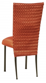 Orange Taffeta Scales 3/4 Chair Cover with Boxed Cushion on Brown Legs