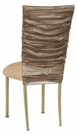 Beige Demure Chair Cover with Jeweled Band and Beige Stretch Knit Cushion on Gold Legs