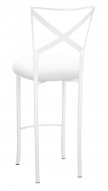 Simply X White Barstool with White Stretch Knit Cushion