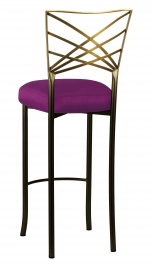 Two Tone Gold Fanfare Barstool with Orchid Taffeta Boxed Cushion
