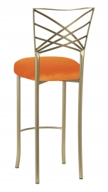 Gold Fanfare Barstool with Orange Velvet Cushion