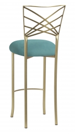 Gold Fanfare Barstool with Turquoise Suede Cushion
