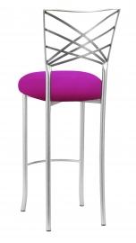 Silver Fanfare Barstool with Magenta Stretch Knit Cushion