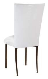 White Croc Chair Cover with White Stretch Knit Cushion on Brown Legs