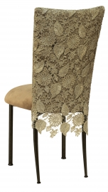 Burlap Chantilly 3/4 Chair Cover with Camel Suede Cushion on Brown Legs