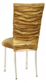 Gold Demure Chair Cover with Jeweled Band and Gold Stretch Knit Cushion on Ivory Legs
