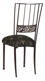 Mahogany Bella Fleur with Black Lace and Gold and Silver Accents over Black Knit Cushion