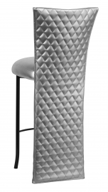 Silver Quilted Barstool Jacket with Silver Leatherette Boxed Cushion on Black Legs