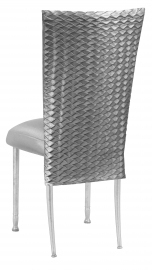 Charcoal Taffeta Scales 3/4 Chair Cover with Boxed Cushion on Silver Legs