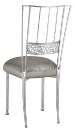Silver Bella Fleur with Charcoal Taffeta Boxed Cushion