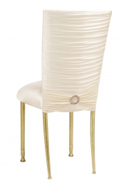 Chloe Ivory Stretch Knit Chair Cover with Jewel Band and Cushion on Gold Legs