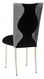 Hour Glass Sequin Chair Cover with Black Velvet on Ivory Legs