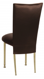 Brown Satin 3/4 Chair Cover and Cushion on Gold Legs