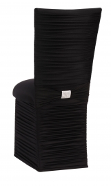 Chloe Black Stretch Knit Chair Cover with Rhinestone Accent Band, Cushion and Skirt