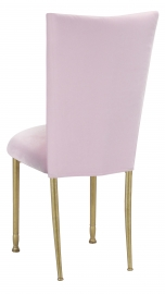 Soft Pink Velvet Chair Cover and Cushion on Gold Legs