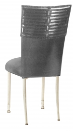 Head Dress with Gunmetal Stretch Knit Cushion on Ivory Legs