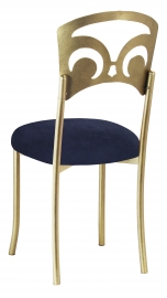 Gold Fleur de Lis with Navy Blue Suede Cushion