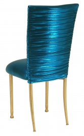 Chloe Metallic Teal Stretch Knit Chair Cover and Cushion on Gold Legs