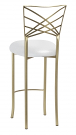 Gold Fanfare Barstool with Metallic Silver on White Knit