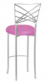 Silver Fanfare Barstool with Pink Sparkle Knit Cushion