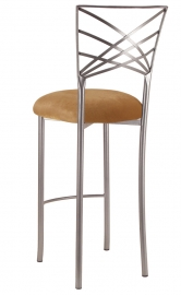 Silver Fanfare Barstool with Gold Velvet Cushion