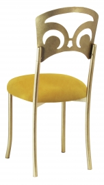 Gold Fleur de Lis with Canary Suede Cushion