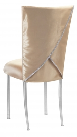 Champagne Deore Chair Cover with Buttercream Cushion on Silver Legs