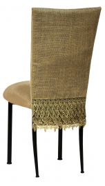 Burlap Fancy 3/4 Chair Cover with Camel Suede Cushion on Black Legs