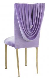 Lavender Velvet Cowl Neck topper and Cushion on Gold Legs
