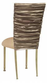 Beige Demure Chair Cover with Beige Stretch Knit Cushion on Gold Legs