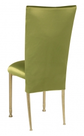 Lime Satin 3/4 Chair Cover and Cushion on Gold Legs