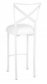 Simply X White Barstool with White Leatherette Boxed Cushion