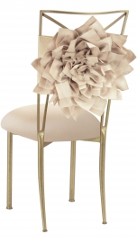 Champagne Bloom with Buttercream Knit Cushion on Gold Legs