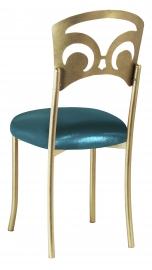 Gold Fleur de Lis with Metallic Teal Stretch Knit Cushion