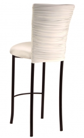 Chloe Ivory Stretch Knit Barstool Cover and Cushion on Brown Legs