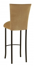 Gold Velvet Barstool Cover and Cushion on Brown Legs