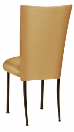 Gold Taffeta Chair Cover with Boxed Cushion on Brown Legs
