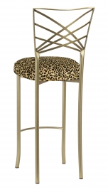 Gold Fanfare Barstool with Leopard Boxed Cushion