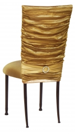 Gold Demure Chair Cover with Jeweled Band and Gold Stretch Knit Cushion on Mahogany Legs