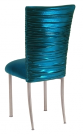 Chloe Metallic Teal Stretch Knit Chair Cover and Cushion on Silver Legs